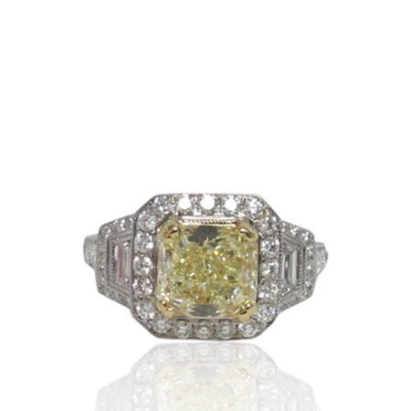 Handmade Platinum Fancy Yellow Diamond Engagement Ring