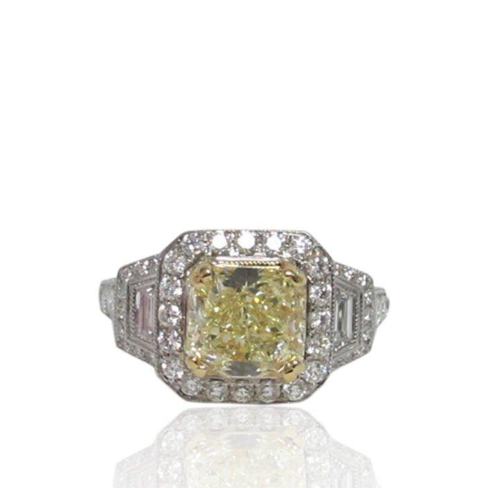 Handmade Platinum Fancy Yellow Diamond Engagement Ring