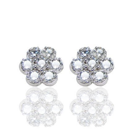 14K White Gold Diamond Rosetta Cluster Studs
