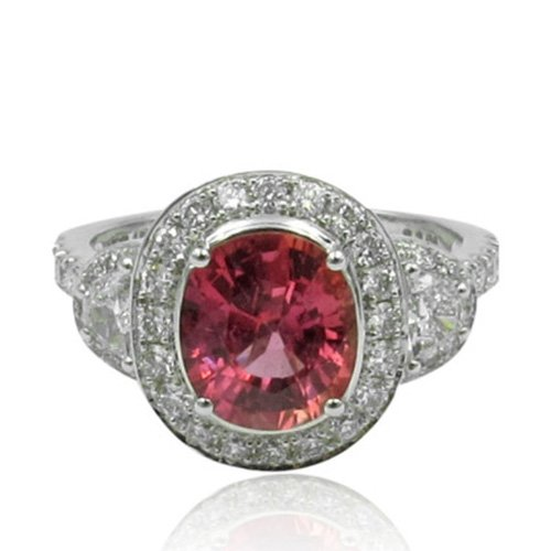14K White Gold, Pink Sapphire and Diamond Ring