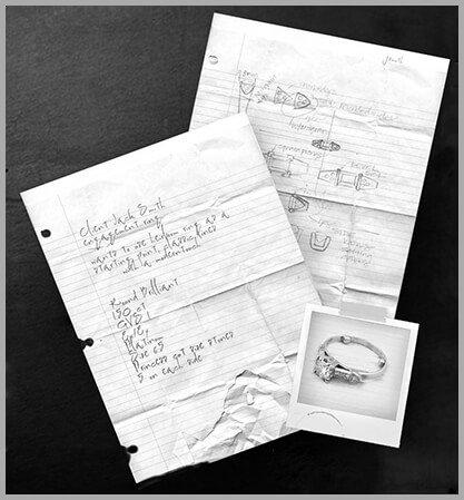 sketches, custom jewelry design, custom design process