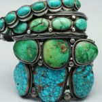 Turquoise jewelry: Old and new turquoise and silver Navajo bracelets. Image by Silverborders, used here under a Creative Commons license.