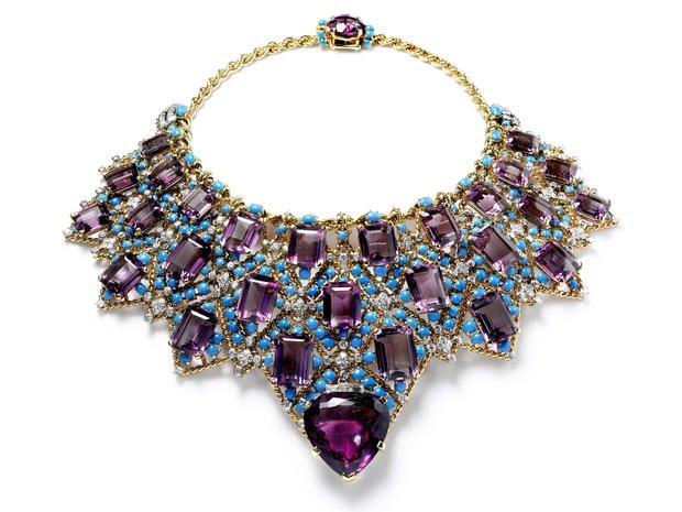 fine stone Purple turquoise necklace natural stone purple stone jewelry