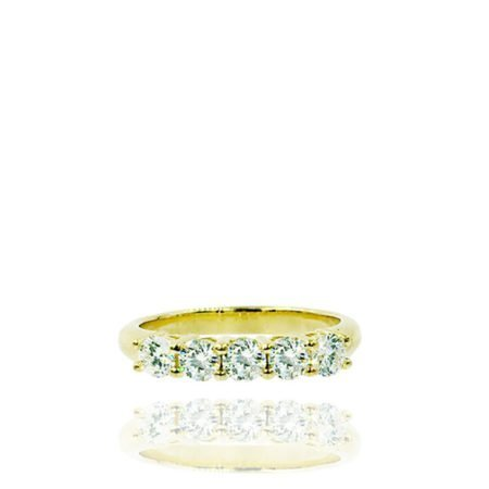 18K Yellow Gold Five Stone Diamond Band