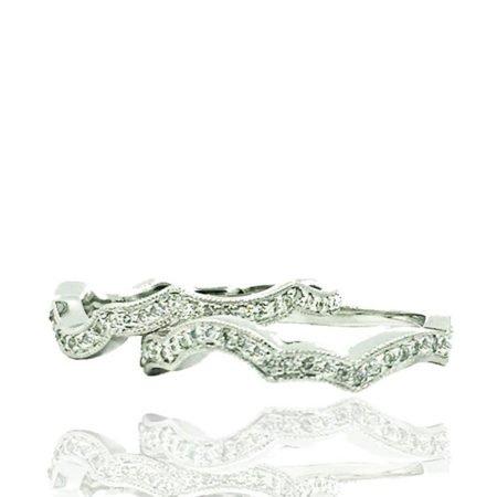 Custom Platinum and Diamond Wedding Band Set