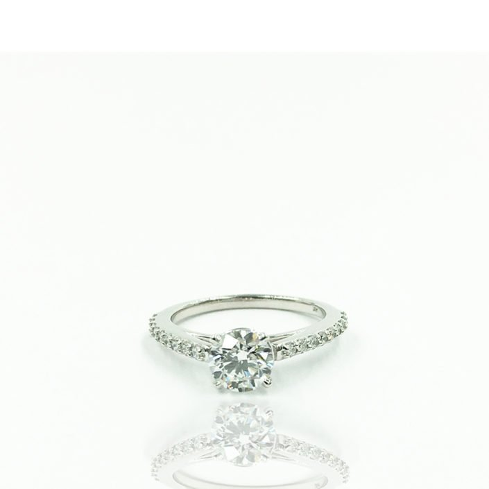 18K Plumb White Gold Cathedral Style Engagement Ring