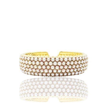 Ruby & Pearl Cuff Bracelet, 14K Yellow Gold