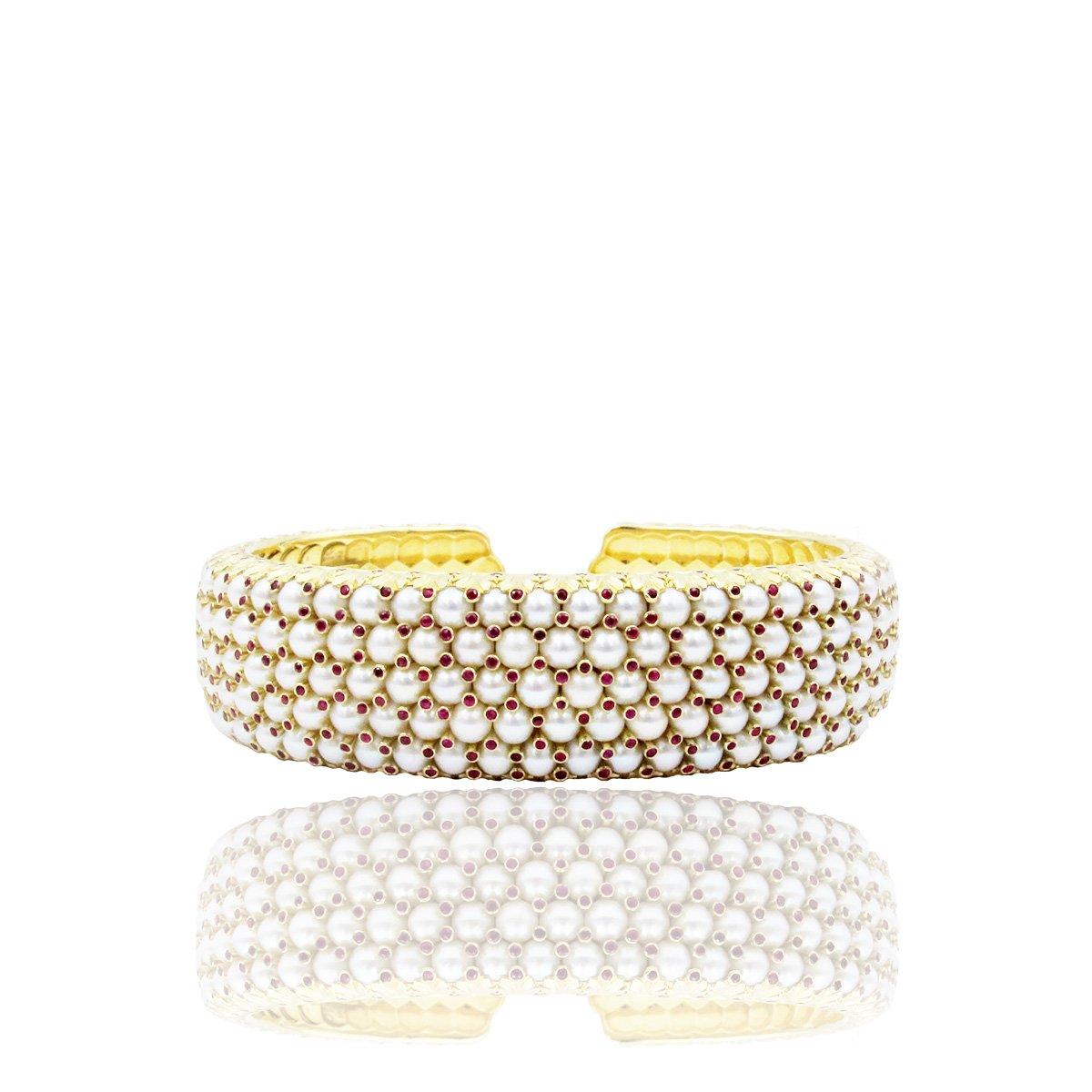 Ruby & Pearl Cuff Bracelet, 14K Yellow Gold