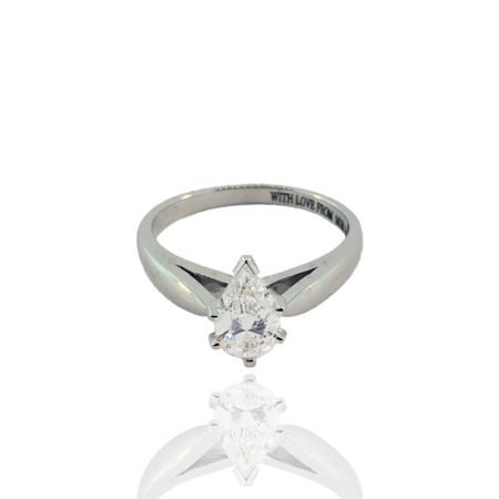 18K White Gold Pear Shaped Solitaire Engagement Ring