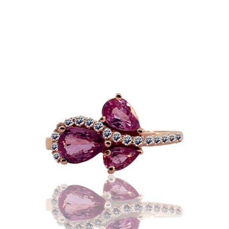 Pink Sapphire Cluster and Diamond Swirl Ring Rose Gold Setting