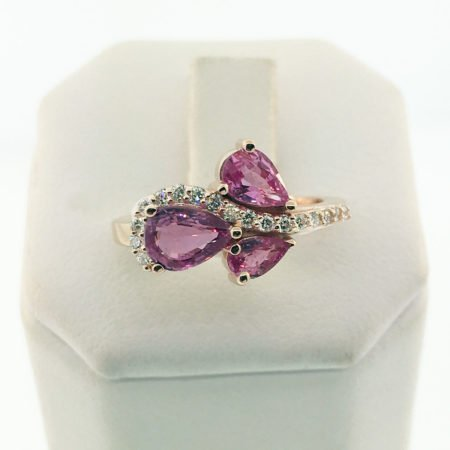 18 K Rose Gold and Pink Sapphire Ring with Diamond Swirl