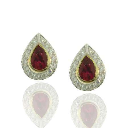 red sapphire ruby diamond halo cluster stud earring