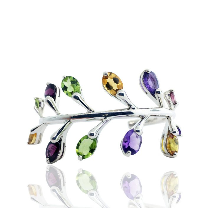 14 K White Gold and Gemstone Pussy Willow Cuff Bracelet
