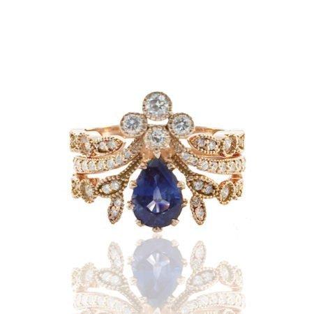 Blue Sapphire Engagement with Diamond Insert
