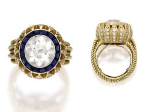 Mary Kate 's Stunning Diamond is Encircled by Sapphires
