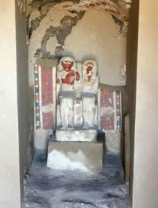 The tomb of a goldsmith dedicated to the ancient Egyptian god Amun unearthed by archaeologists in Luxor boasts a sculpture of him seated beside his wife.