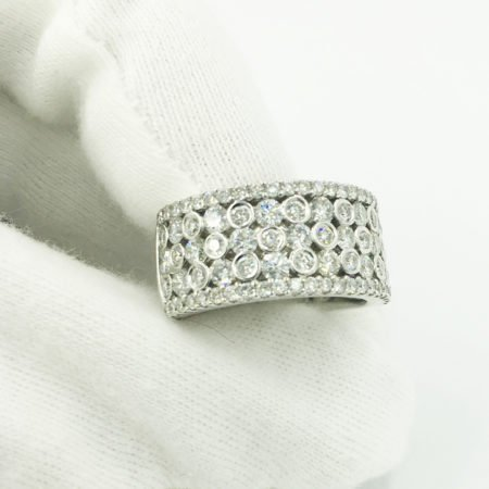 14K White Gold Multi Stone Diamond Band