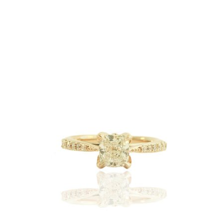 rose gold cushion cut engagement ring