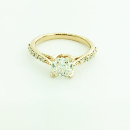 14K Rose Gold Cushion Cut Diamond Engagement Ring Custom