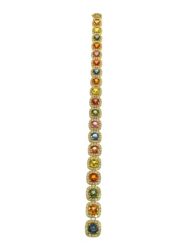 18K Rose Gold, Multi-Colored Sapphire & Diamond Bracelet, Grants Jewelry, Fine Jewelry, Diamond District