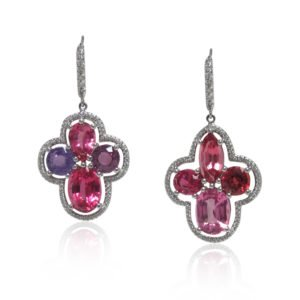Lavender Sapphire and Pink Spinel Earrings