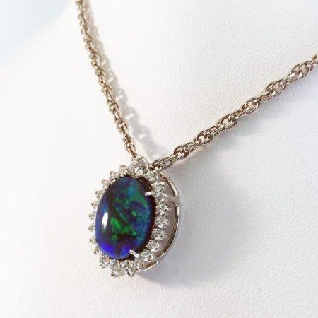 Black Opal and Diamond Pendant, Custom Fine Jewelry, 18K White Gold