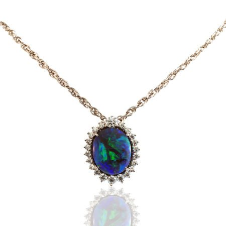 Black Opal and Diamond Pendant, Custom Fine Jewelry, 18K White Gold