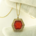 Mexican Fire Opal & Diamond Pendant in 14K Yellow Gold