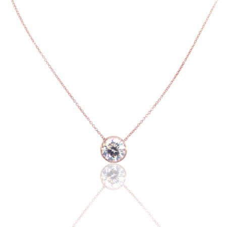Rose Gold, Bezel Set, Diamond Pendant, NY Diamond District, Best Diamond Value, Custom Pendant, Custom Diamond Jewelry