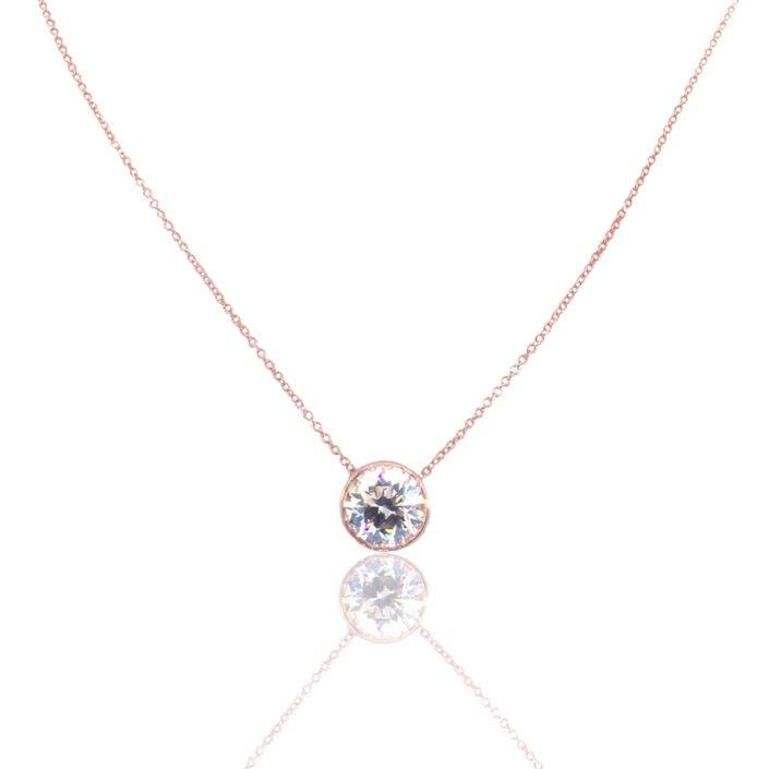 Rose Gold, Bezel Set, Diamond Pendant, NY Diamond District, Best Diamond Value, Custom Pendant, Custom Diamond Jewelry