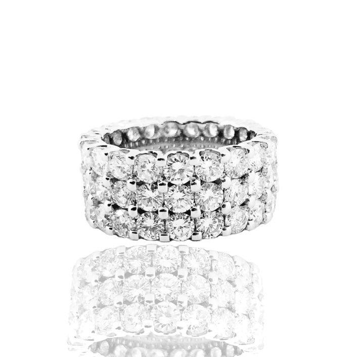 Diamond Eternity Band, Plumb White Gold, 3 Row Diamond Ring, White Gold, Custom Diamond Ring, NYC Diamond District, Anniversary Band, Diamond Gifts