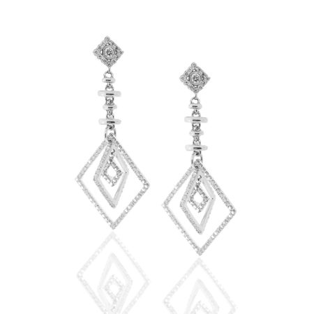 Diamond Earrings, Dangling Earrings, 18 K White Gold, Holiday Gifts, 2017 Holiday, 20 Days of Diamonds, Fine Jewelry