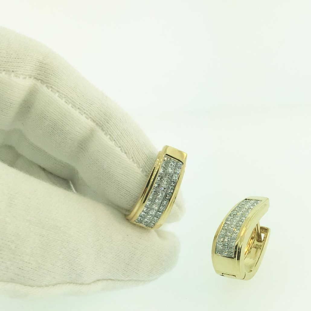 Diamond Hoops, Invisible Setting, Floating Diamonds, Yellow Gold, Hinged Hoop Earring, Holiday Gifts, 20 Days of Diamonds