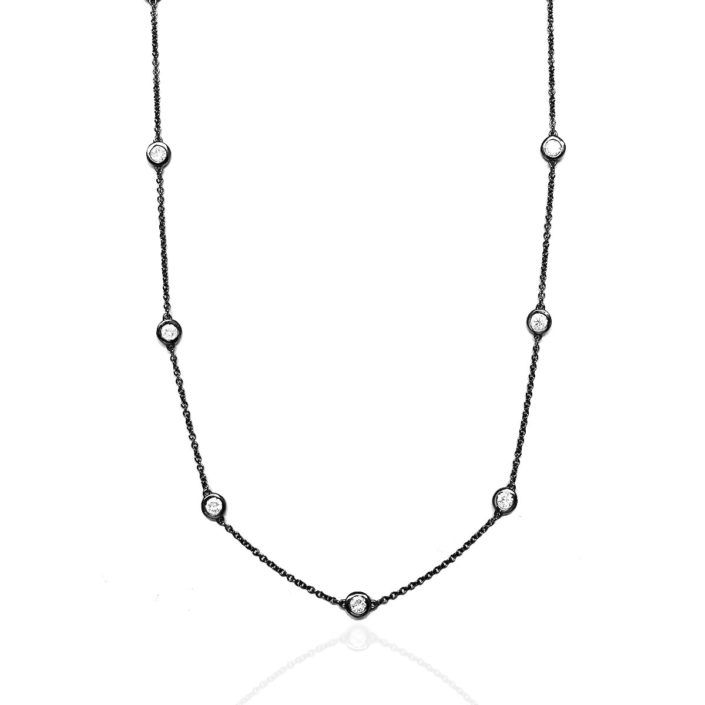 Diamonds on a chain, diamond essentials, diamond necklaces, 14K White Gold, Bezel Setting