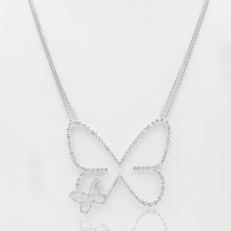 Diamond, Pendant, 18K White Gold, Butterfly