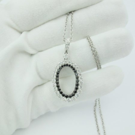 14K White Gold, 20 Days of Diamonds, Circle Pendant, Diamond District, Diamond Pendant, Fancy Black Treated Diamond, Fine Jewelry, Holiday 2017, holiday gifts, Natural Round Brilliant Diamond, NYC Jeweler