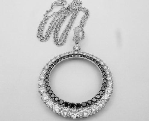 Natural Round Brilliant DIamond, Fancy Black Treated Diamond, 20 Days of Diamonds, Fine Jewelry, Circle Pendant, Diamond Pendant, 14K White Gold, Holiday 2017, Holiday Gifts, Diamond District, NYC Jeweler