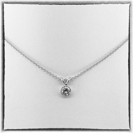14K White Gold, Bezel Set, Diamond Essentials, Diamond Pendant, Natural Round Brilliant Diamond