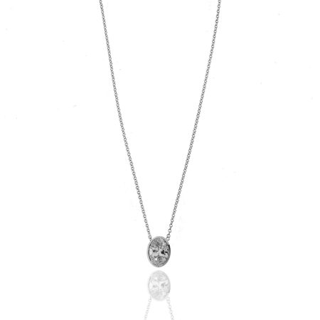 14kwg 1.03ct Oval Solitaire Diamond Pendant
