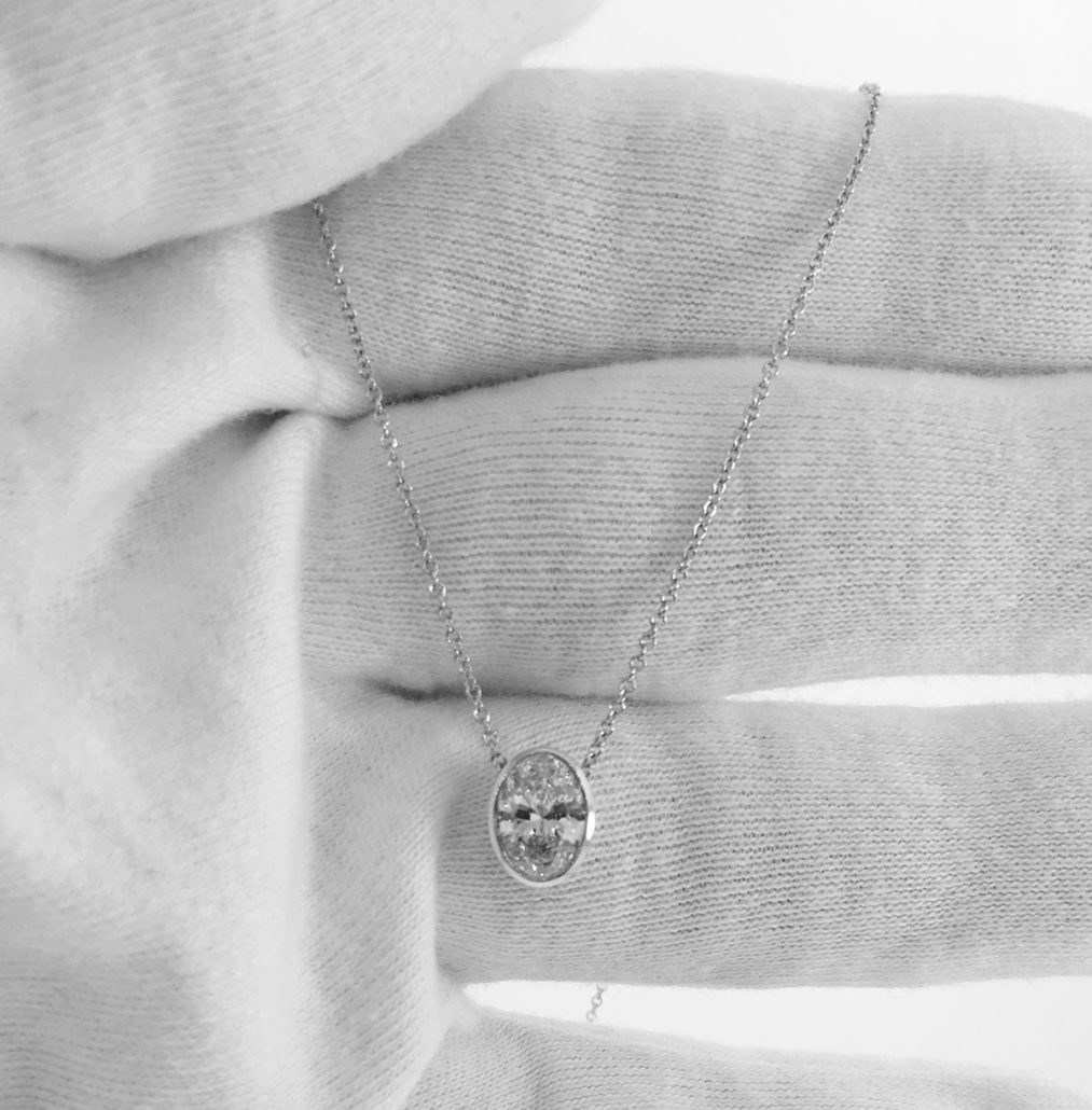 14kwg 1.03ct Oval Solitaire Diamond Pendant
