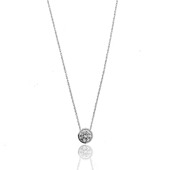 Diamond Pendant, Bezel Set, 20 Days of Diamonds, 14K White Gold, NYC Diamond District, Holiday 2017