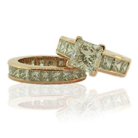 rose gold, channel set, princess cut, 14K, GIA Certiified Diamond,