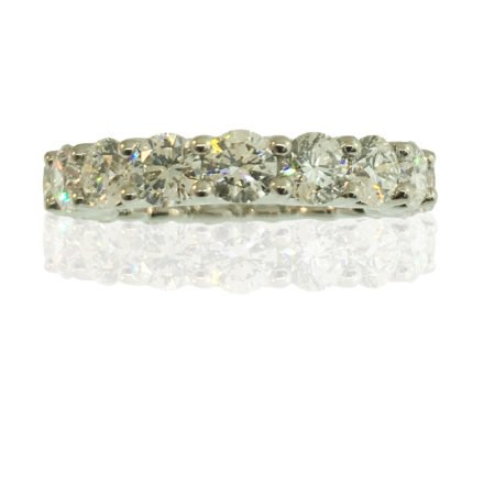 Eternity Band, Platinum, Natural Round Brilliant Diamonds, U-Shaped Eternity Ring, Shared Prong Setting