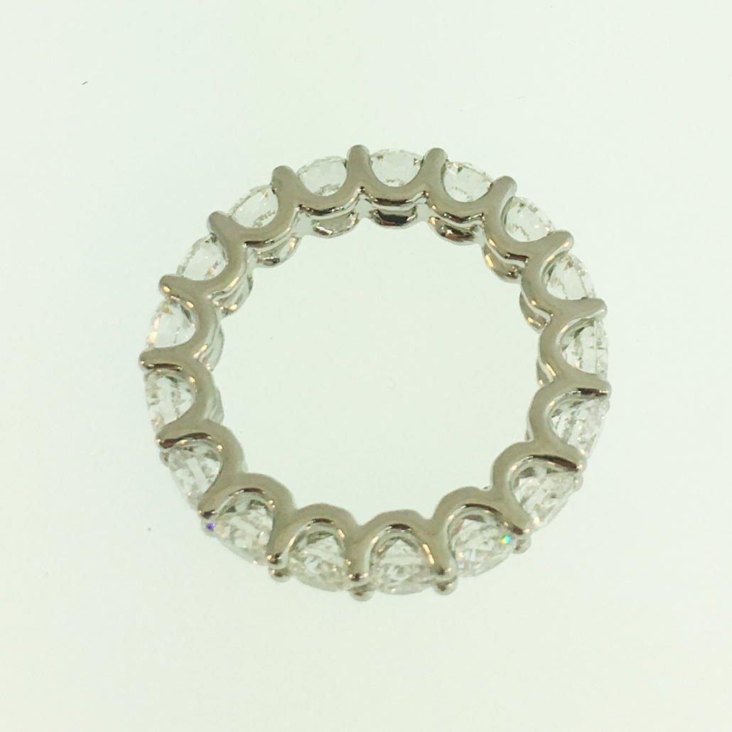 Eternity Band, Platinum, Natural Round Brilliant Diamonds, U-Shaped Eternity Ring, Shared Prong Setting