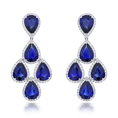 Heat treated blue sapphire, natural round brilliant diamond, halo set, dangling earrings, white gold