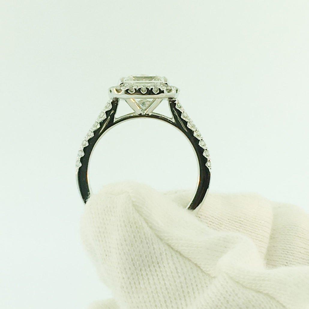 princess cut, diamond engagement ring, custom ring, halo setting, nyc diamond district,