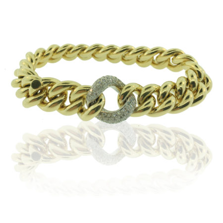 18 K Yellow Gold, Diamond Encrusted White Gold Link, High Polish Finish, Hidden Clasp, Fine Jewelry