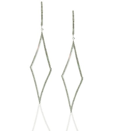14K White Gold, Diamonds, Dangling Earrings, Lever Back, Diamond Shape