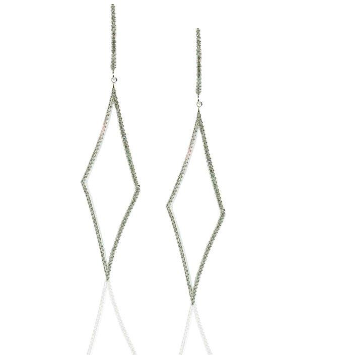14K White Gold, Diamonds, Dangling Earrings, Lever Back, Diamond Shape