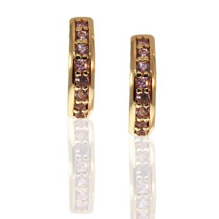 Pink Sapphire, 14K Rose Gold, Hoop Earrings, Locking Post